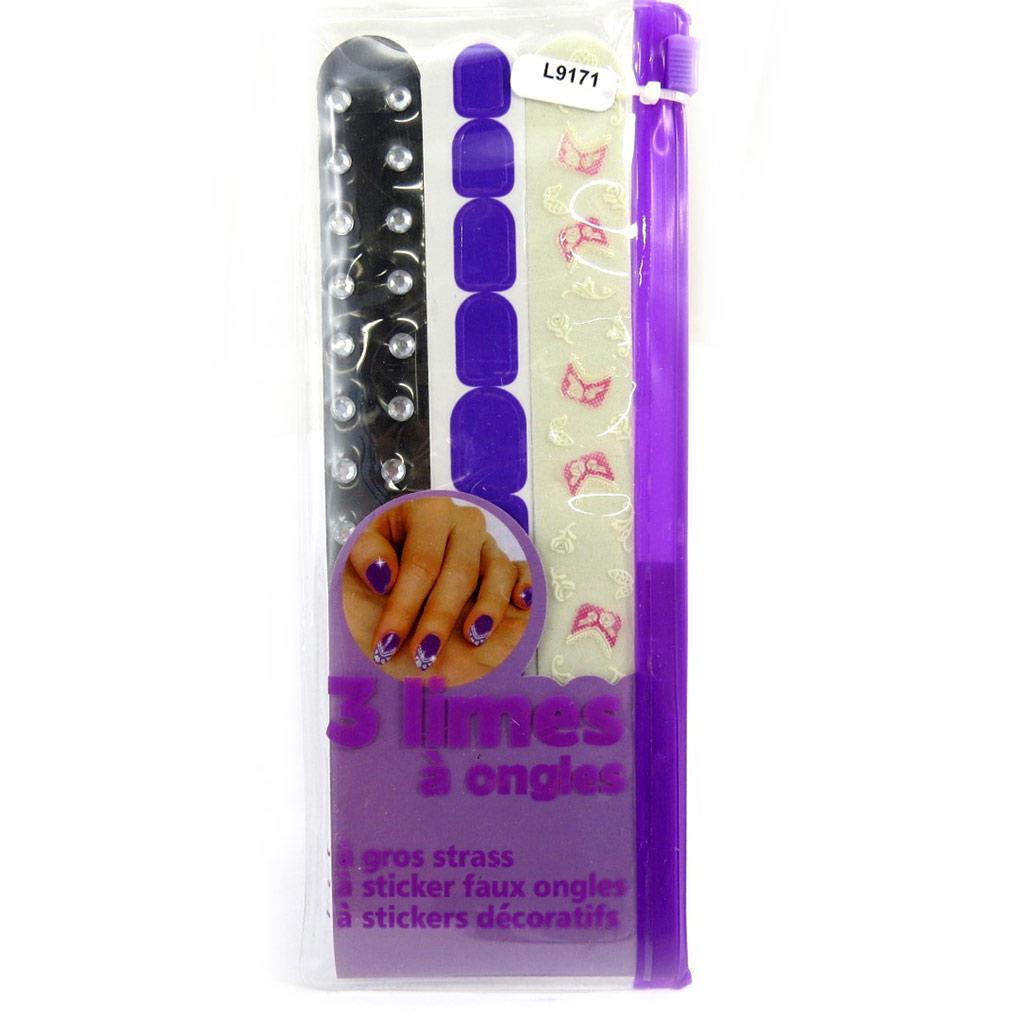 Set de 3 limes à ongle \'Scarlett\' violet - [L9171]