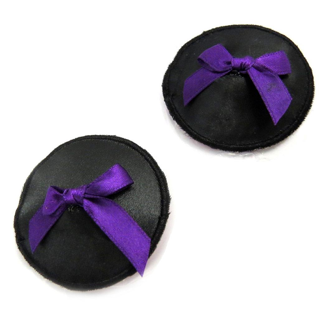 Cache-tétons auto-adhésifs \'Aphrodite\' noir violet satiné - [L9486]