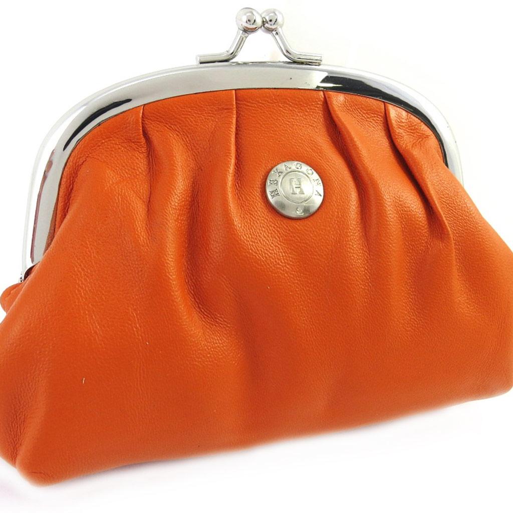 Porte-monnaie cuir \'Hexagona\' orange (12x95x4 cm) - [M0335]