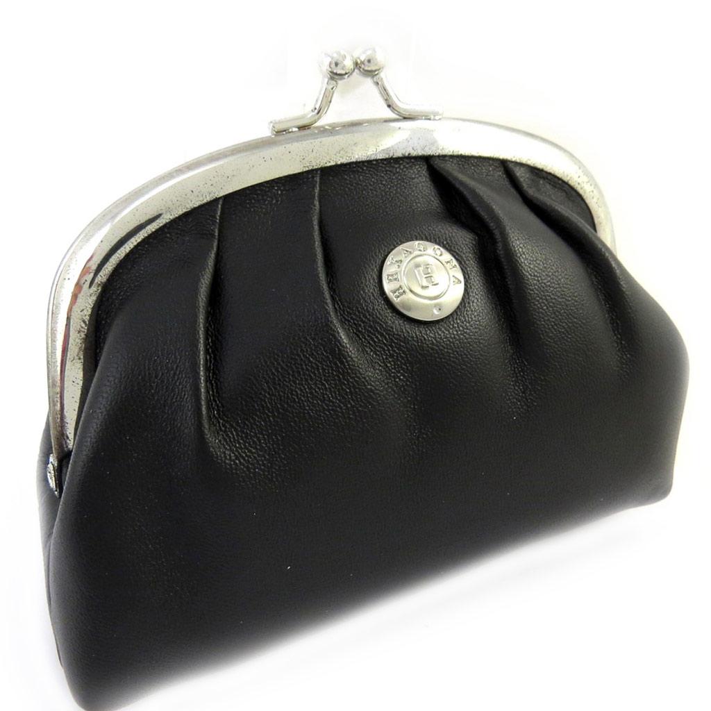 Porte-monnaie cuir \'Hexagona\' noir (12x95x4 cm) - [M0337]