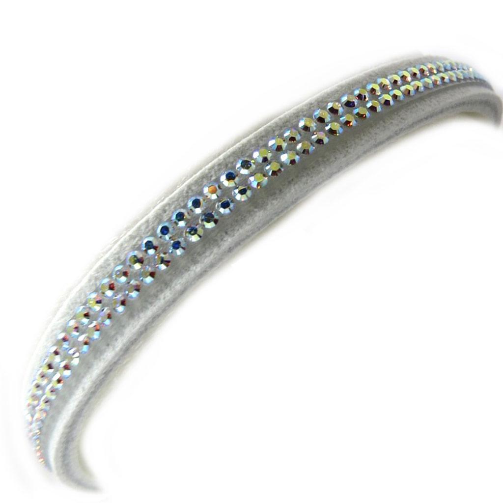 Bracelet créateur \'Déesse\' blanc boréal (cristal de Swarovski) 7 mm - [M0616]