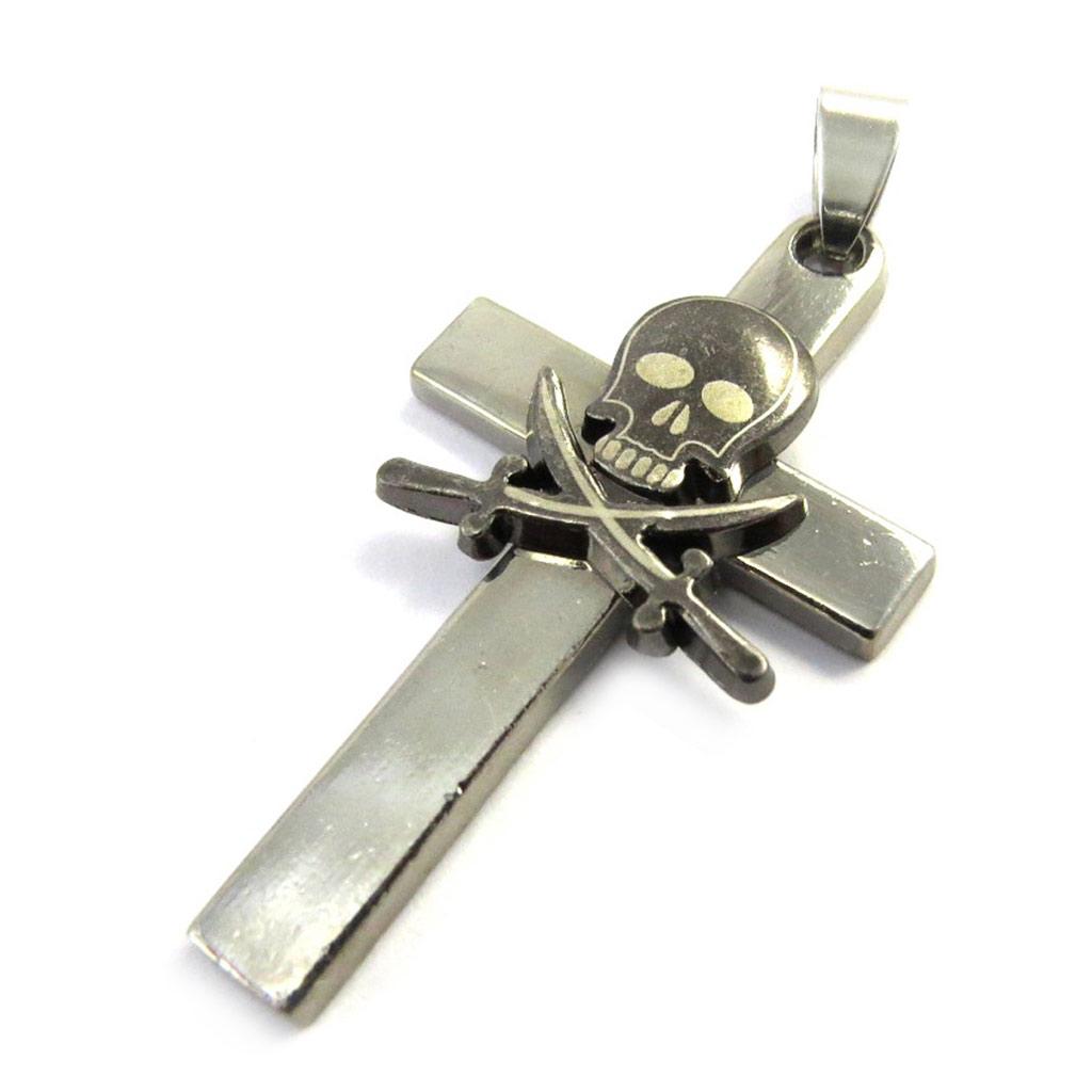 Pendentif acier \'Croix\' noir argenté (tête de mort) - [M0744]