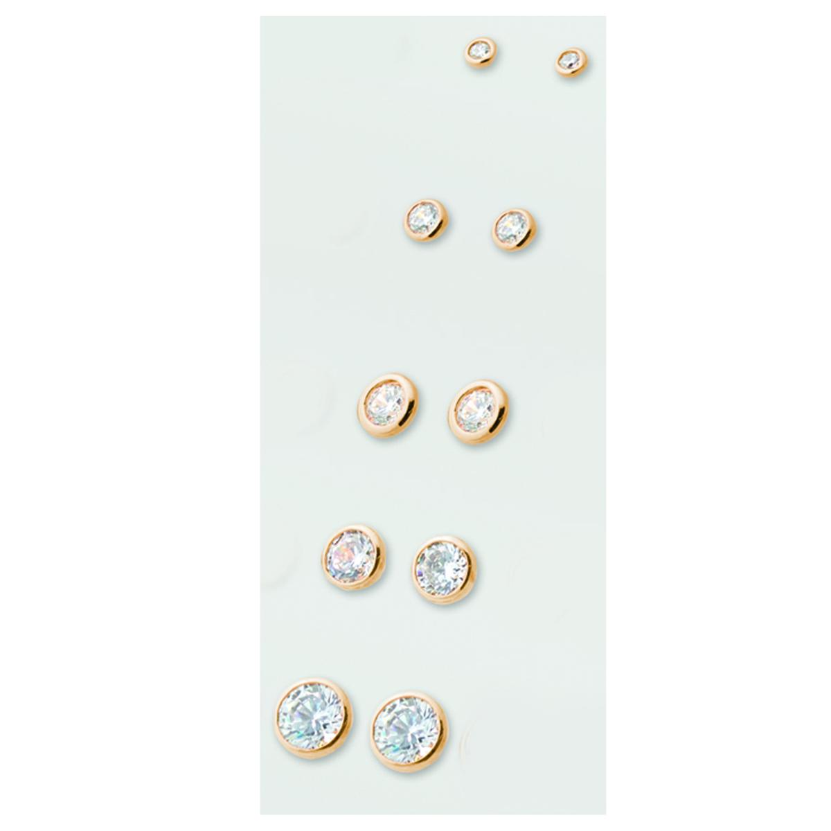 5 paires de boucles plaqué or \'Unique\' blanc - 2 à 6 mm - [M1098]