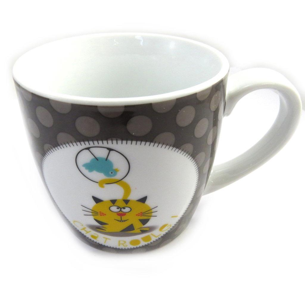 Mug porcelaine \'Fripouille Chat Roulé\' taupe - [M3396]