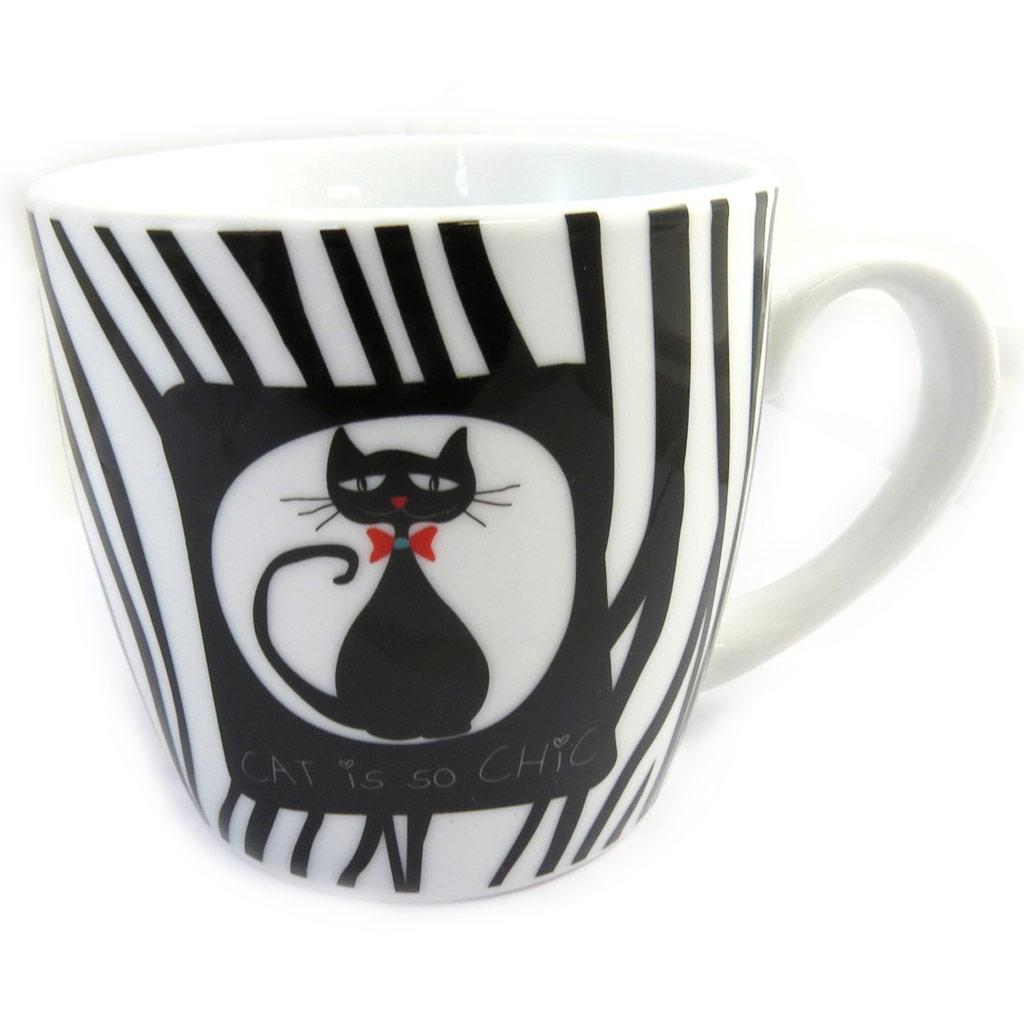 Mug porcelaine \'Cat is so Chic\' noir blanc zébré - [M3397]