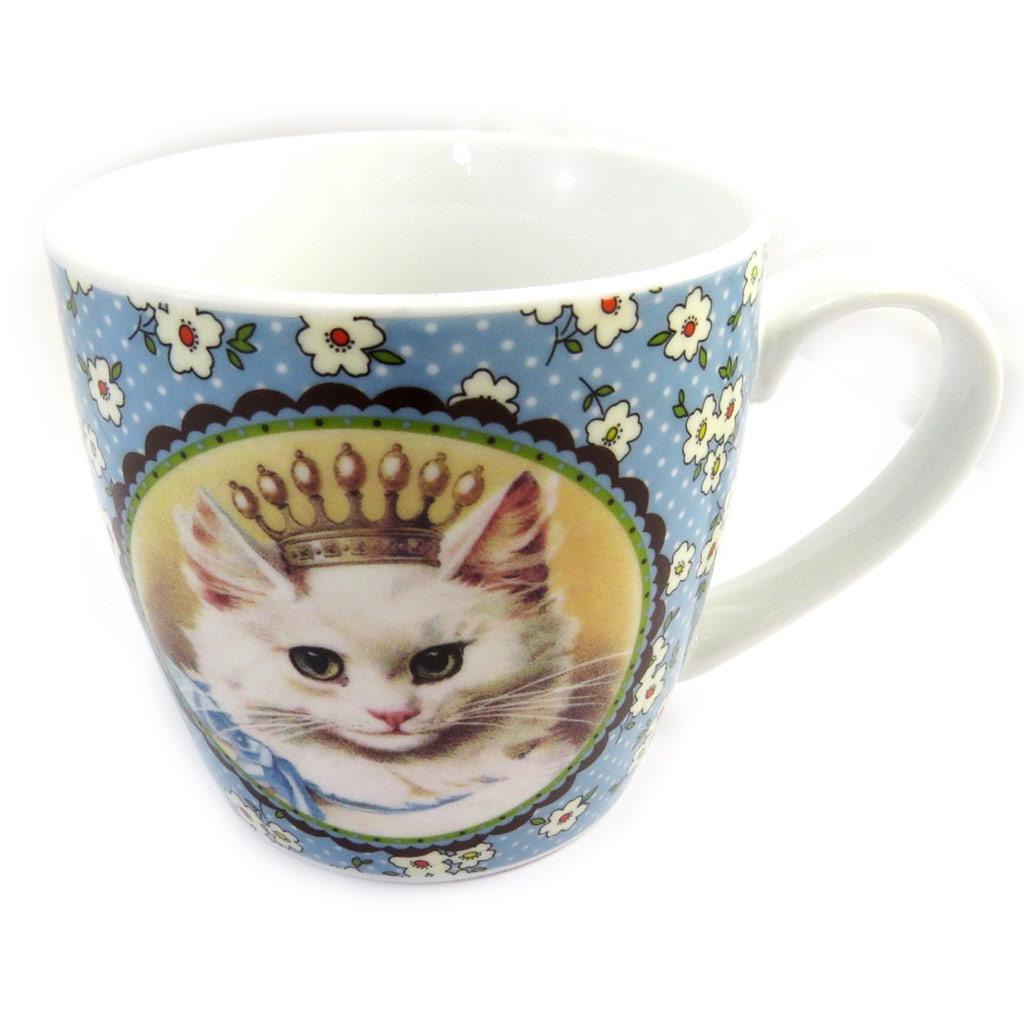 Mug porcelaine \'Chat Princesse\' bleu - [M3398]