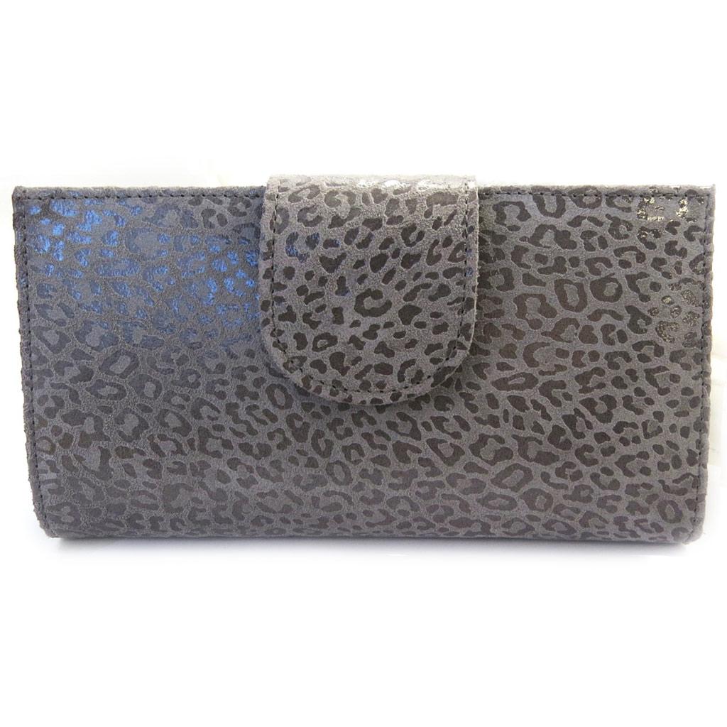 Porte-Chéquier Cuir \'Frandi\' gris graphite (léopard) - [M3453]