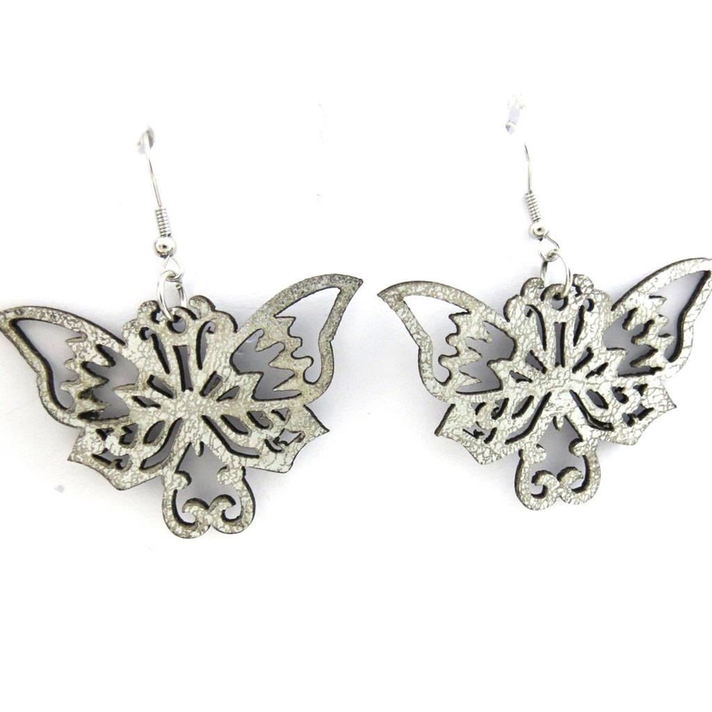 Boucles Créateur \'Papillons\' argenté - [M4145]