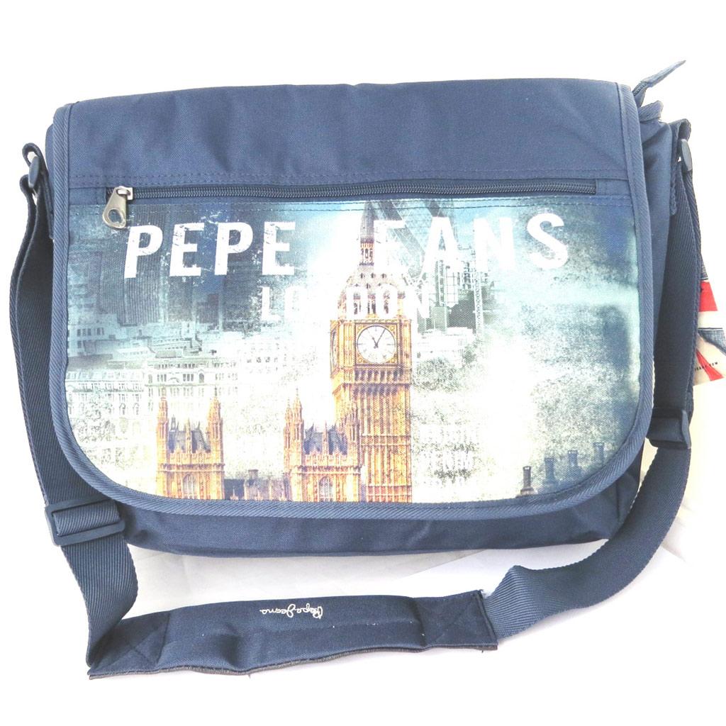 Sac bandoulière \'Pepe Jeans\' marine - London (format ordinateur) - [M7873]