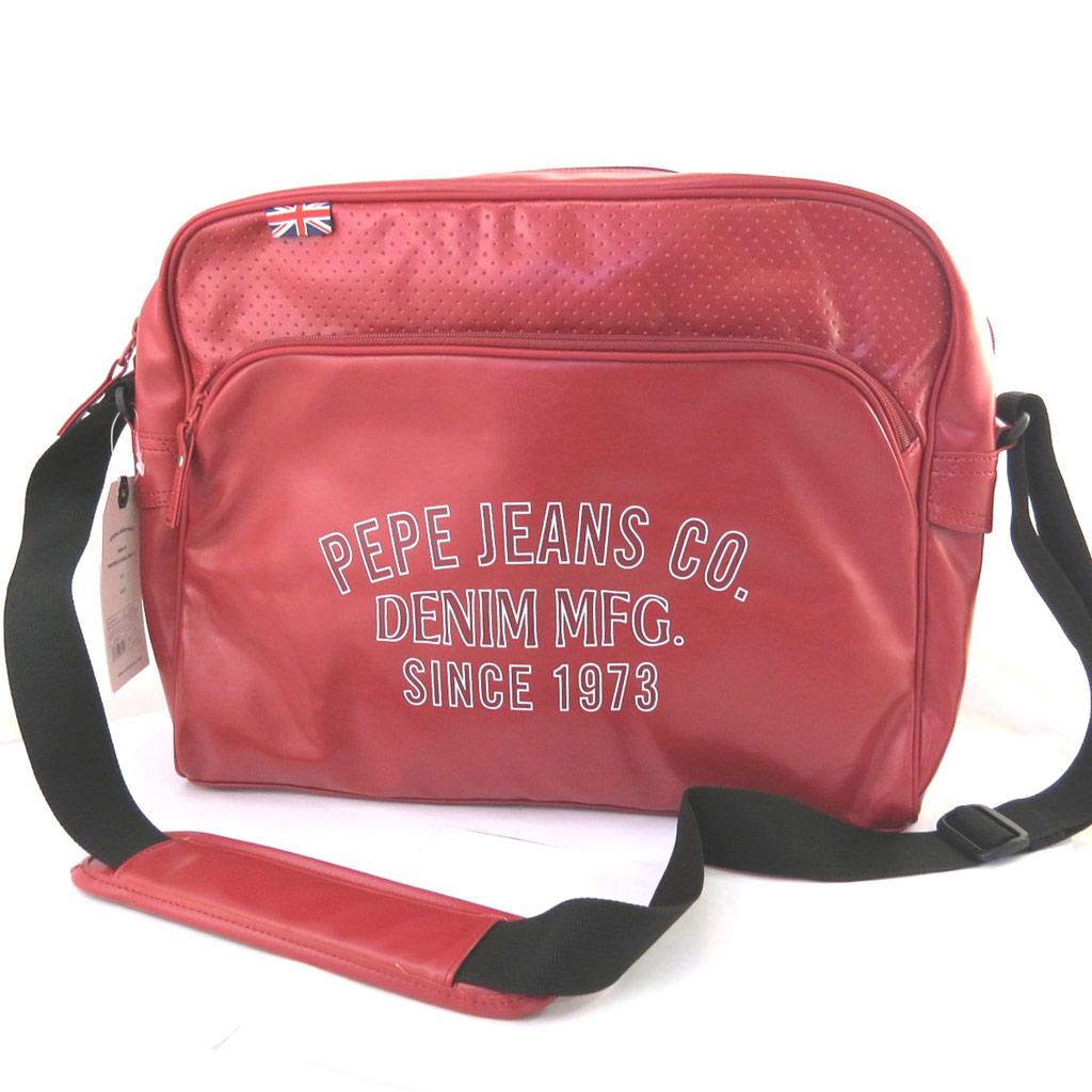 Sac bandoulière \'Pepe Jeans\' rouge vintage (format ordinateur) - 39x29x11 cm - [M7882]
