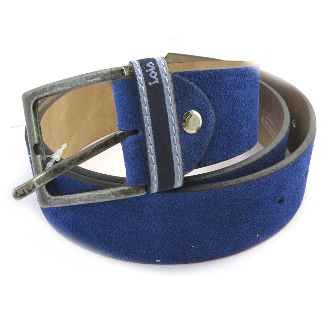Ceinture cuir \'Lois Jean\' bleu vintage - 4 cm - [M7945]