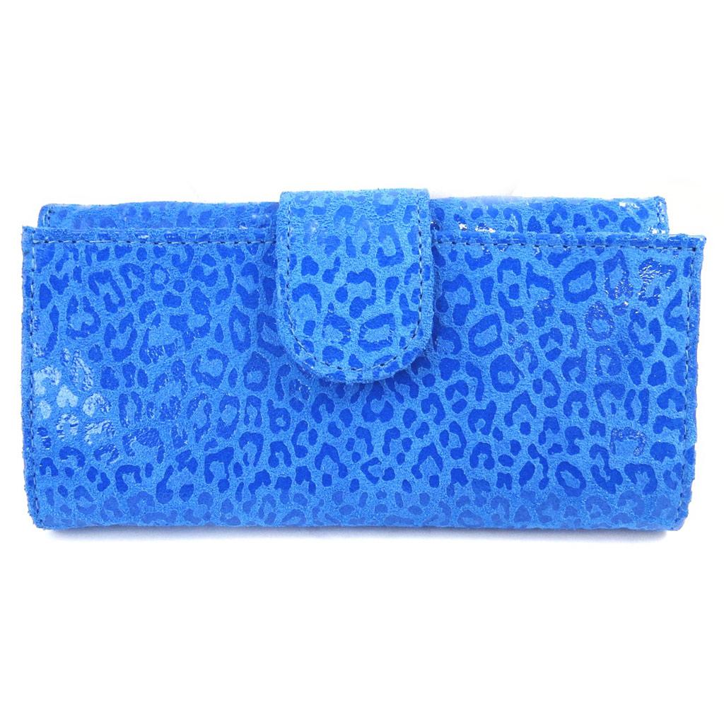 Grand porte-monnaie Cuir \'Frandi\' bleu capri (léopard) - [M7957]