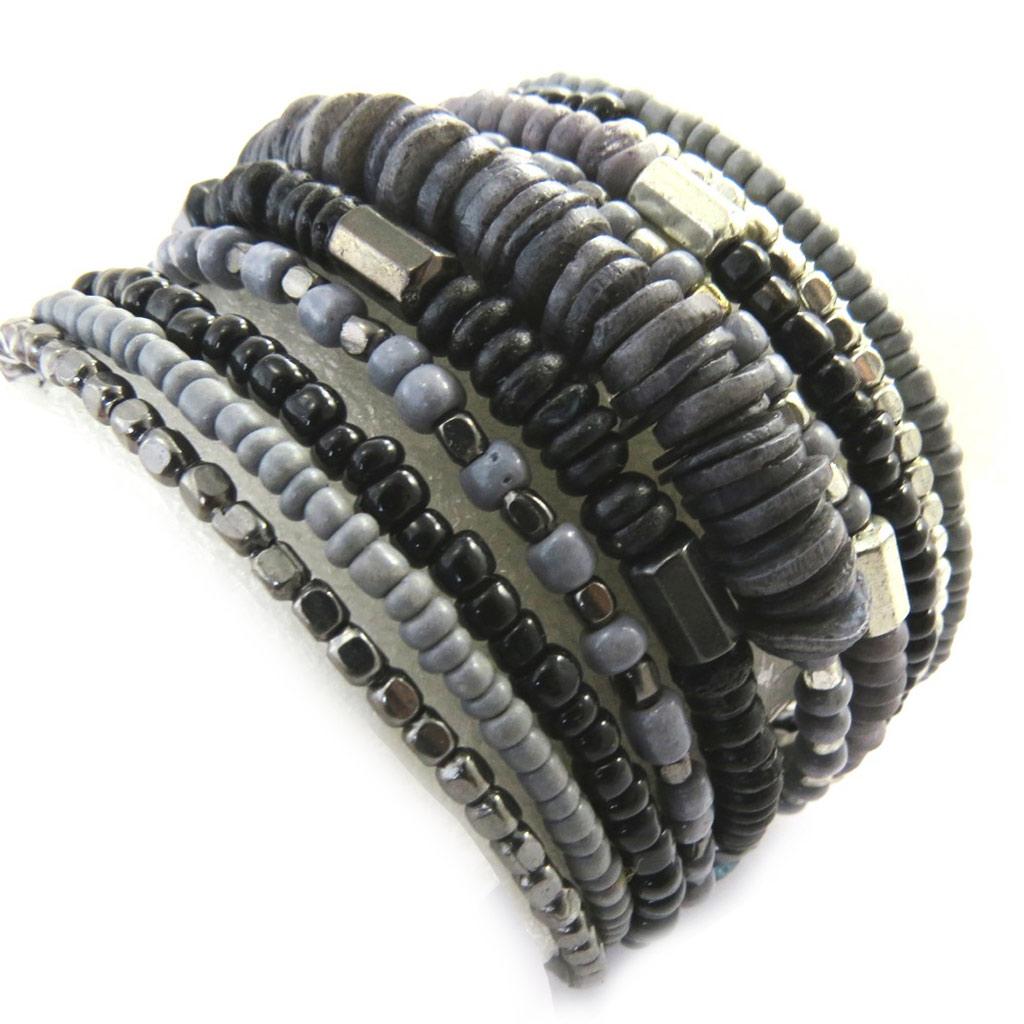 Bracelet créateur \'Katmandou\' gris - [M9324]