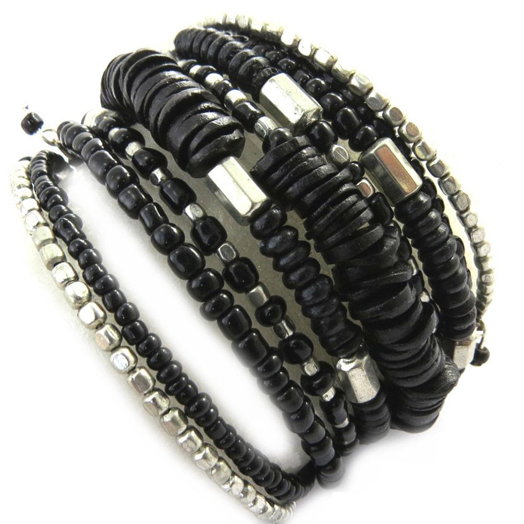 Bracelet créateur \'Katmandou\' noir - [M9325]