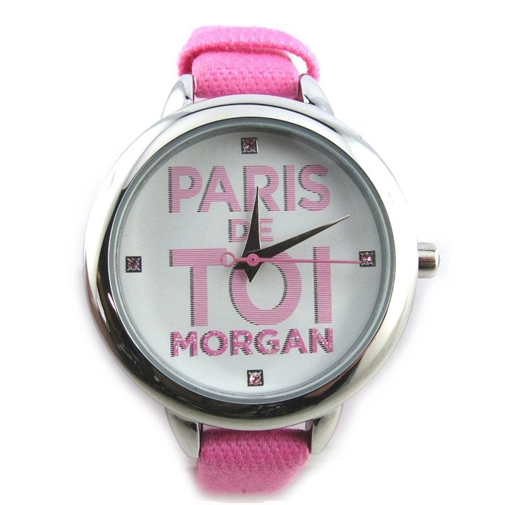 Montre créateur \'Morgan\' rose argenté (Paris de toi) - [N2364]