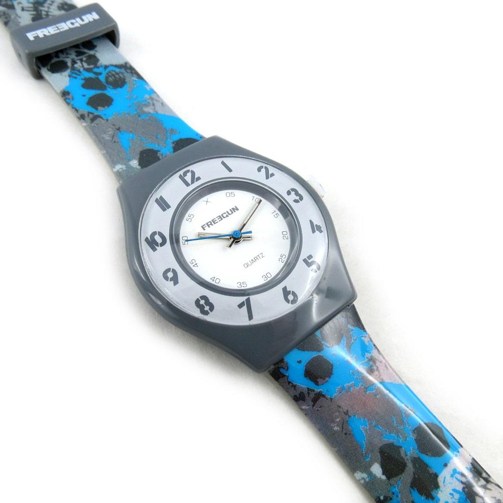 Montre créateur \'Freegun\' gris bleu (ultra plat) - [N2399]