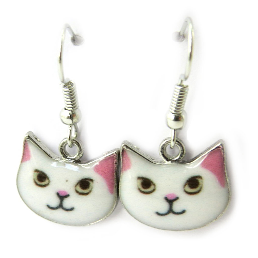 Boucles \'Chats\' blanc rose - [N4665]