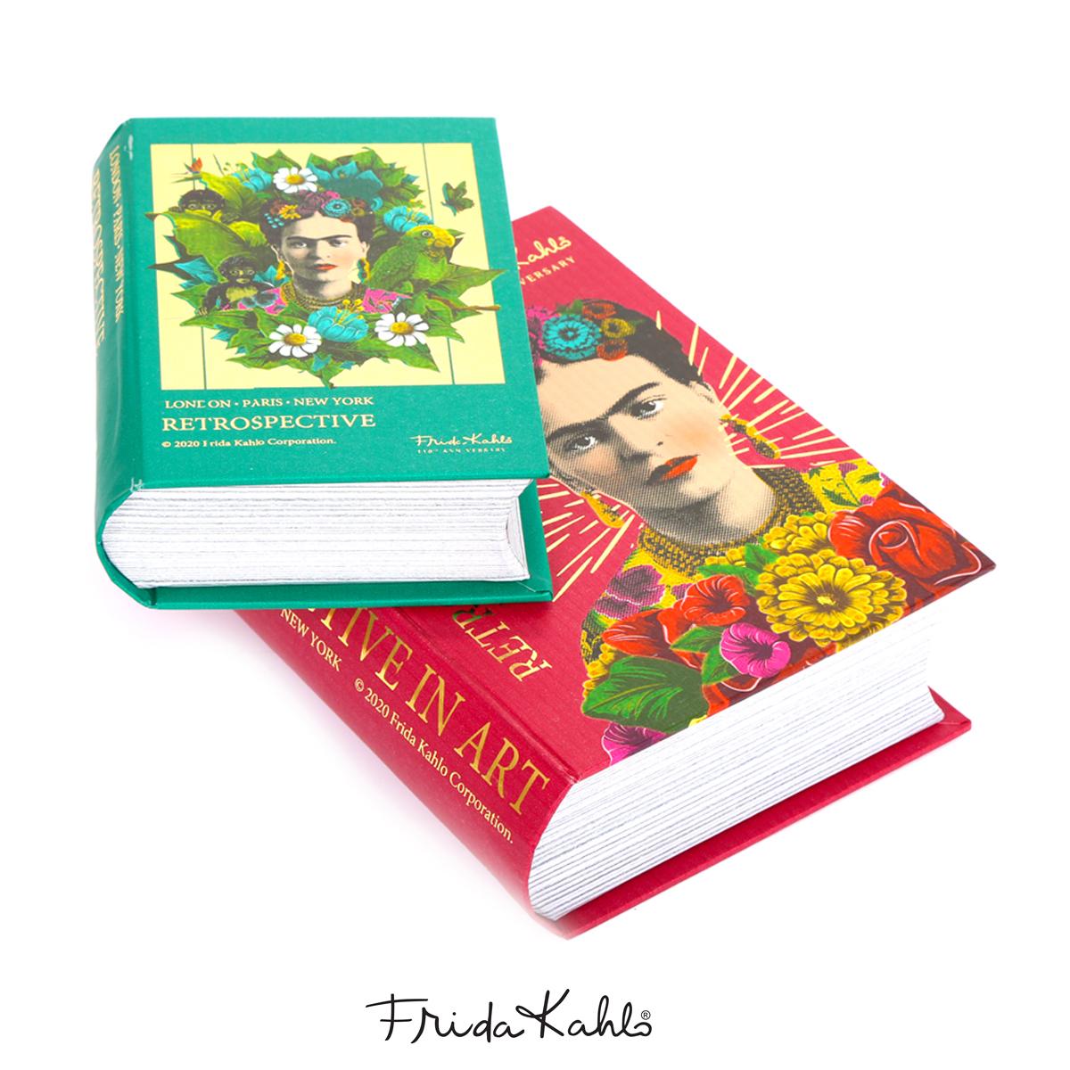 2 boites gigognes livres \'Frida Kahlo\' vert rouge - 17x135x5 cm et 135x10x4 cm - [A0607]