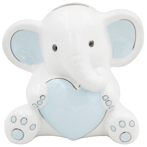 Tirelire céramique \'Elephant\' bleu blanc - 10x10 cm - [A0621]