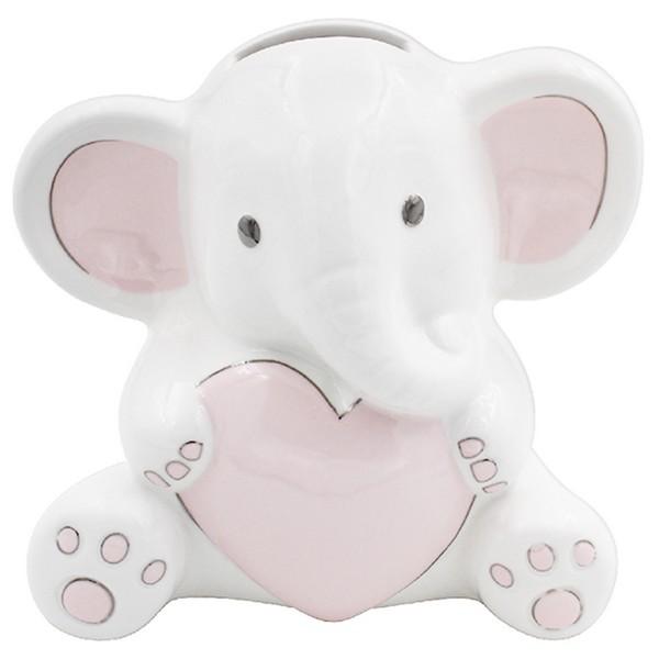 Tirelire céramique \'Elephant\' rose blanc - 10x10 cm - [A0622]