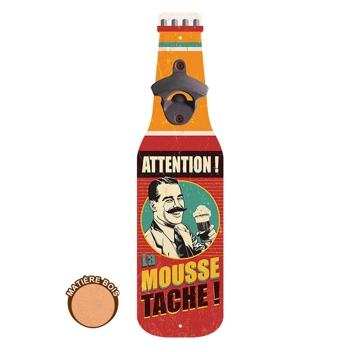 Décapsuleur mural bois \'Bouteille\' (Attention la Mouss tache !) - 40x105x4 cm - [A0841]