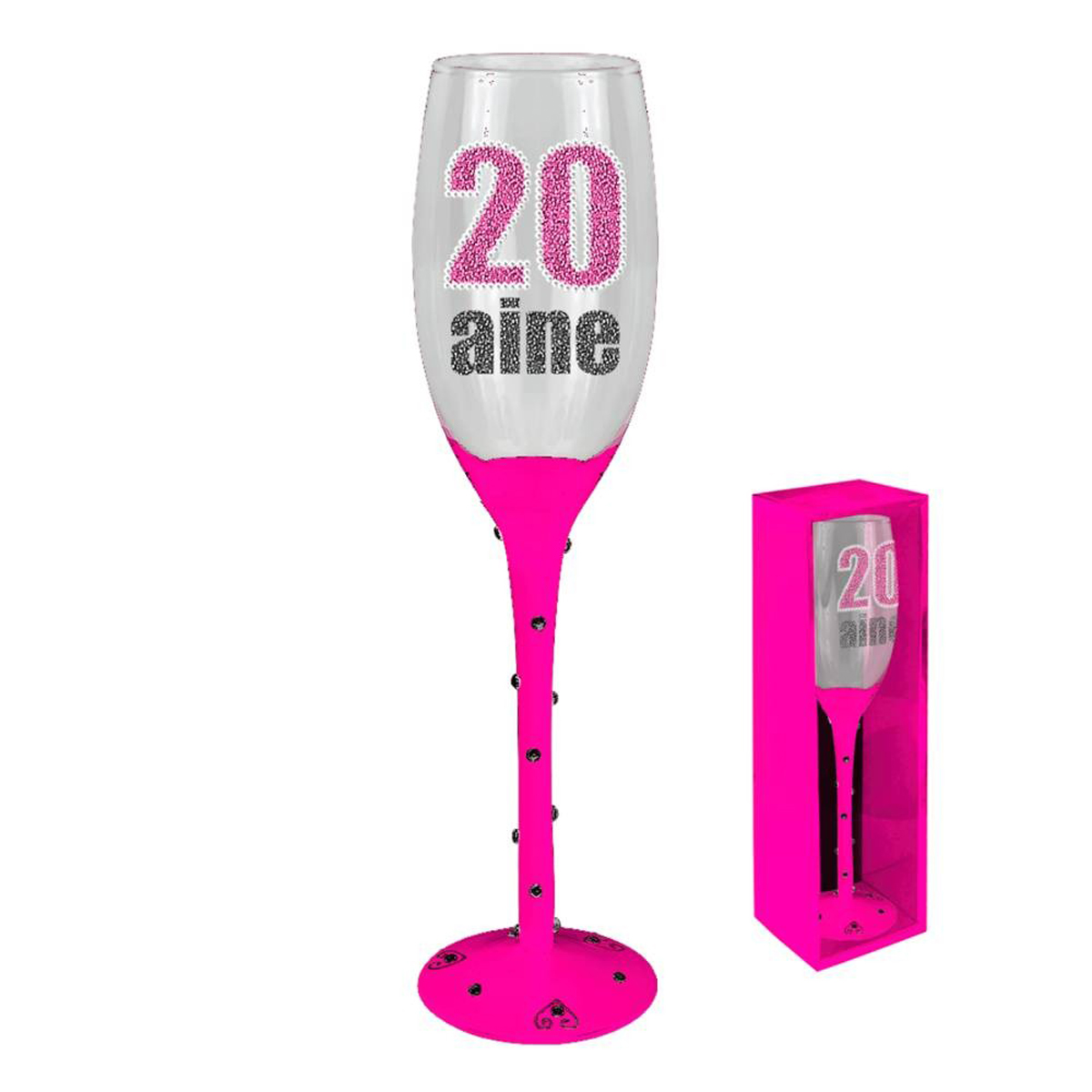 Coupe flute à champagne \'20 ans\' rose - 24 cm - [N2730]