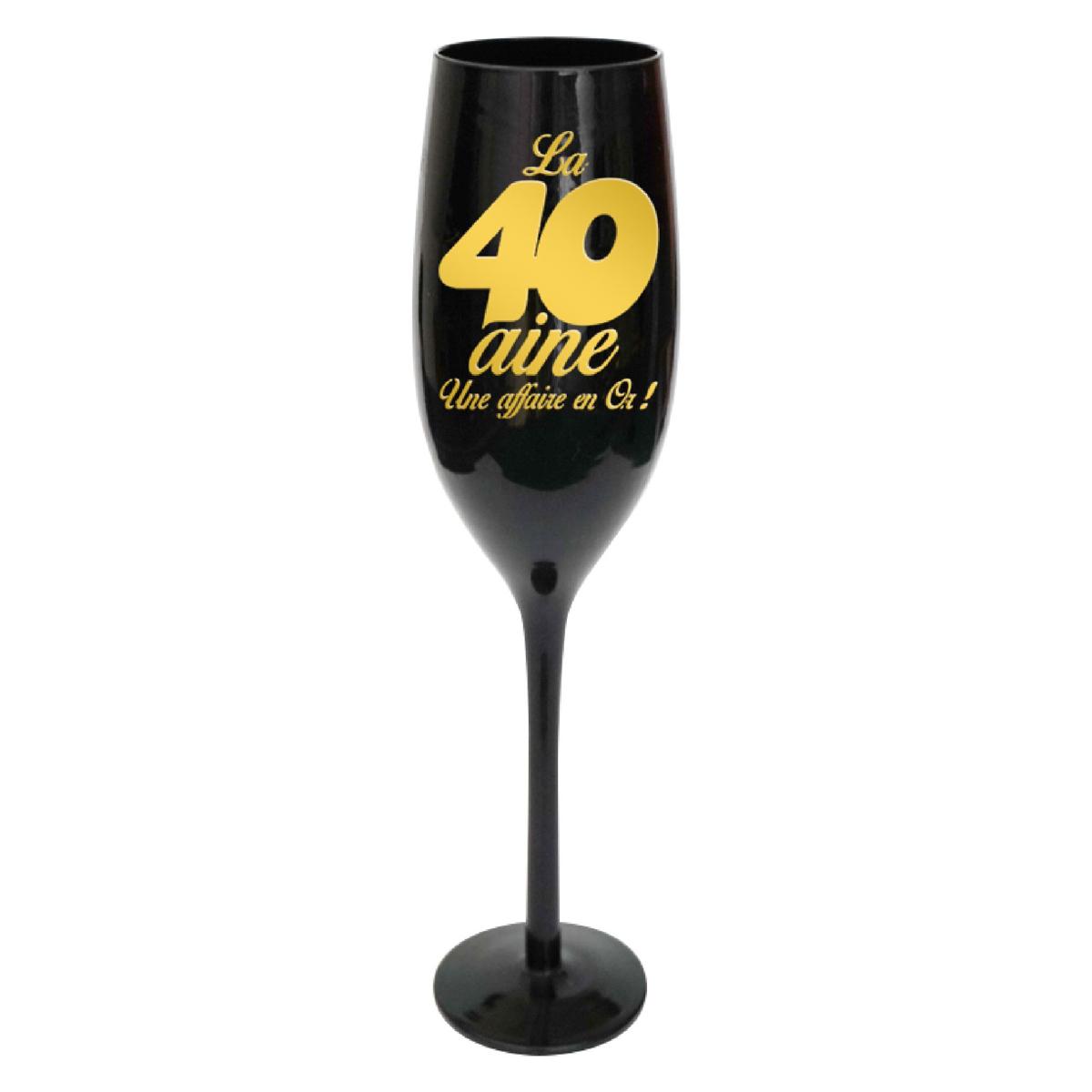 Coupe flute à champagne \'40 ans\' noir doré - 24 cm - [N2736]