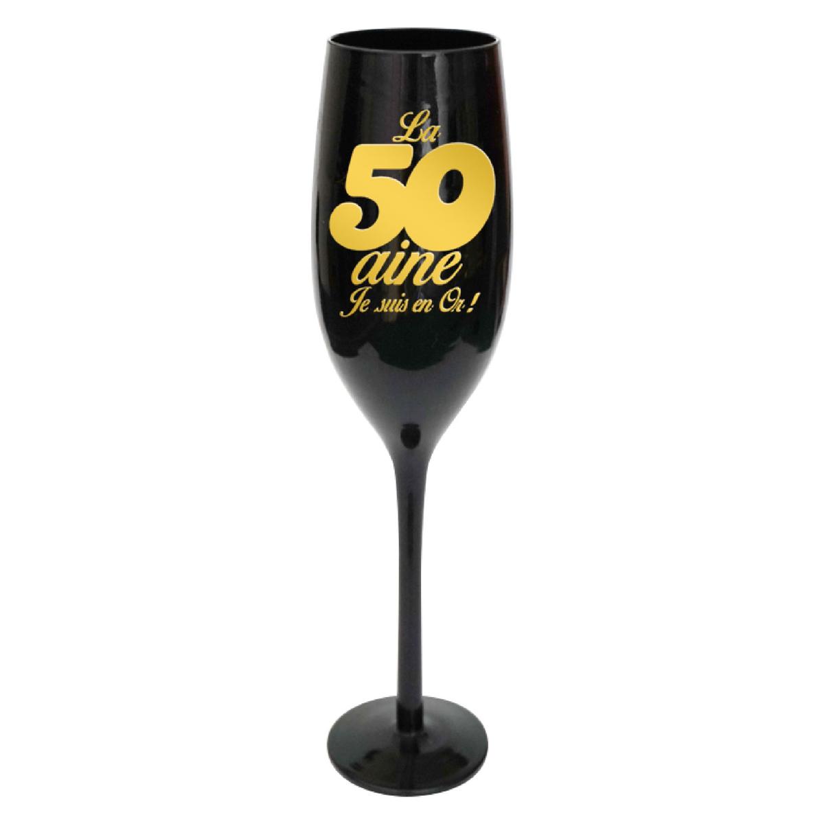 Coupe flute à champagne \'50 ans\' noir doré - 24 cm - [N2744]