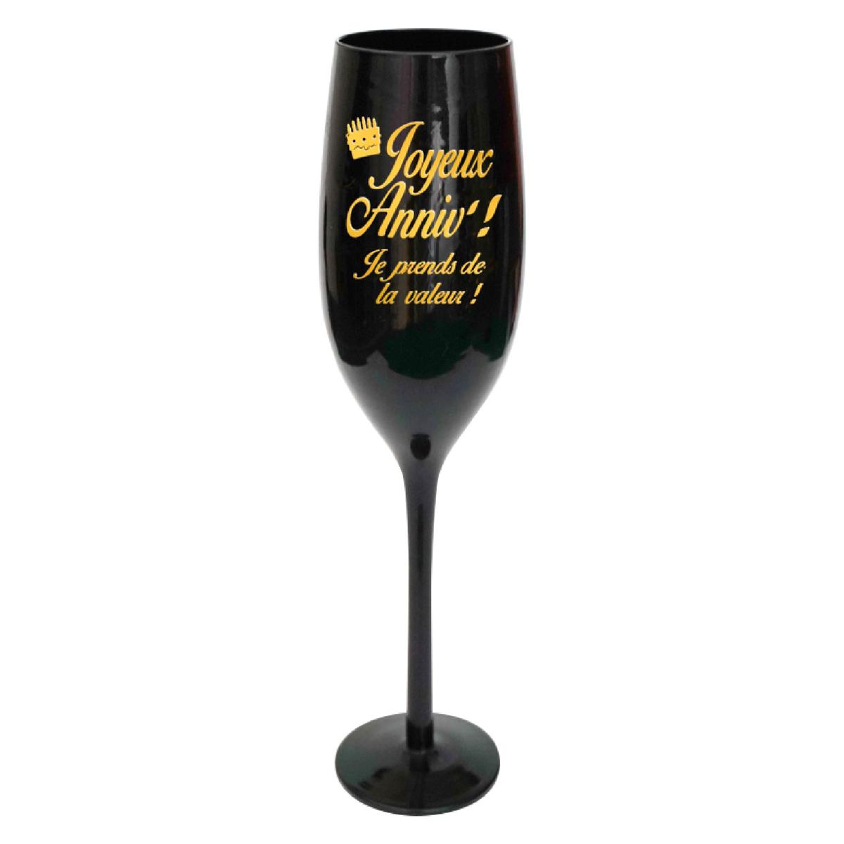 Coupe flute à champagne \'Joyeux Anniv !\' noir doré - 24 cm - [N2746]