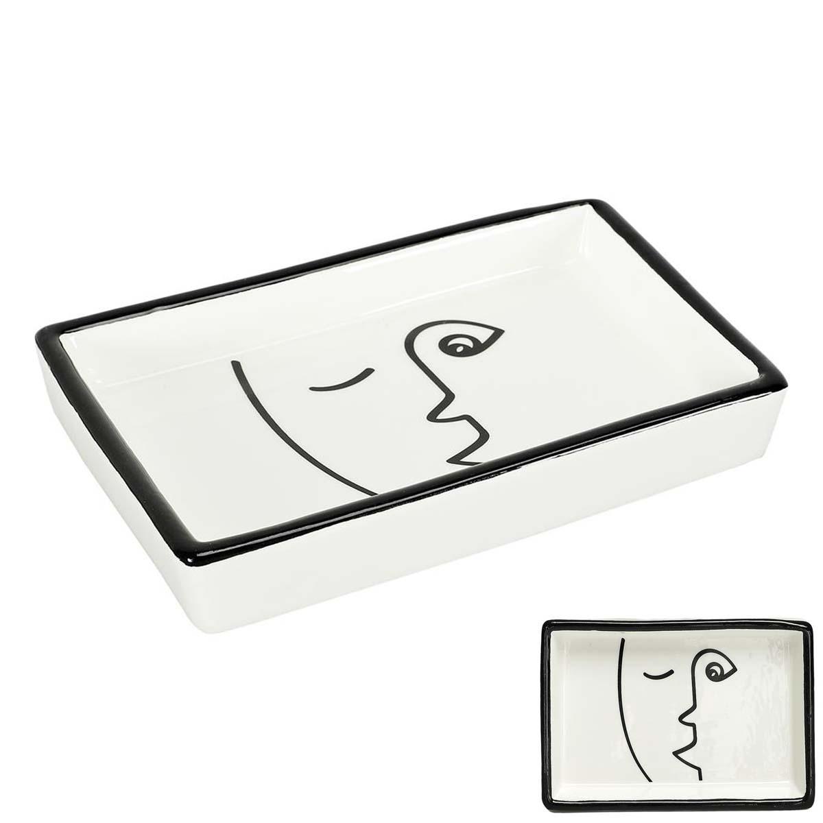 Vide-poches céramique \'Arty\' noir blanc - 155x105x25 cm - [A0898]