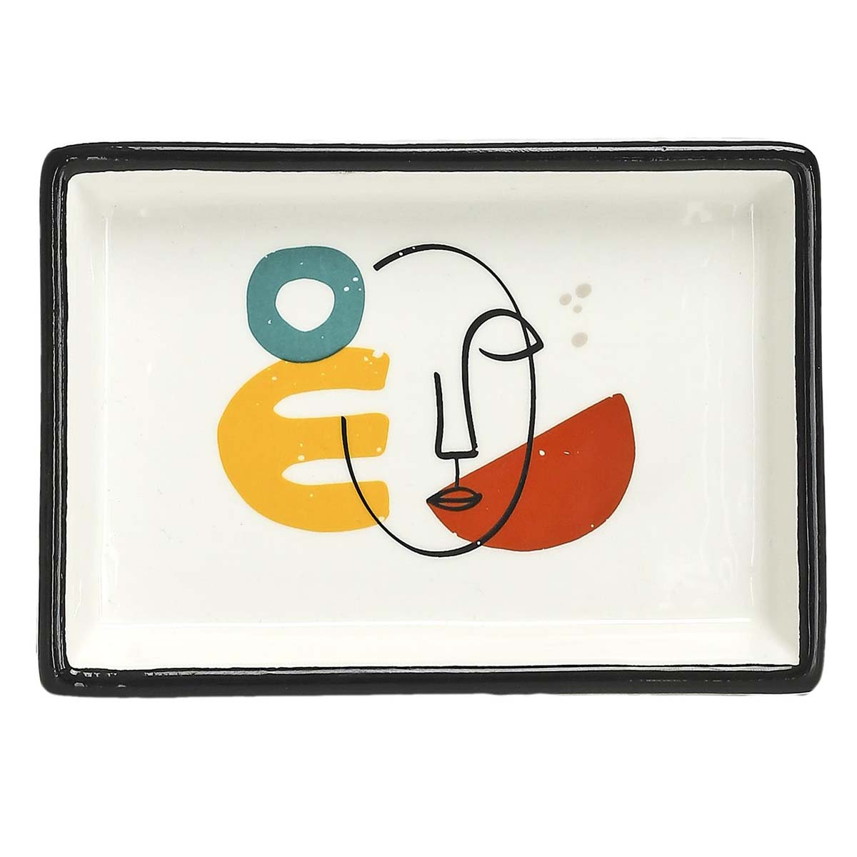 Vide-poches céramique \'Arty\' multicolore blanc - 155x105x25 cm - [A0899]