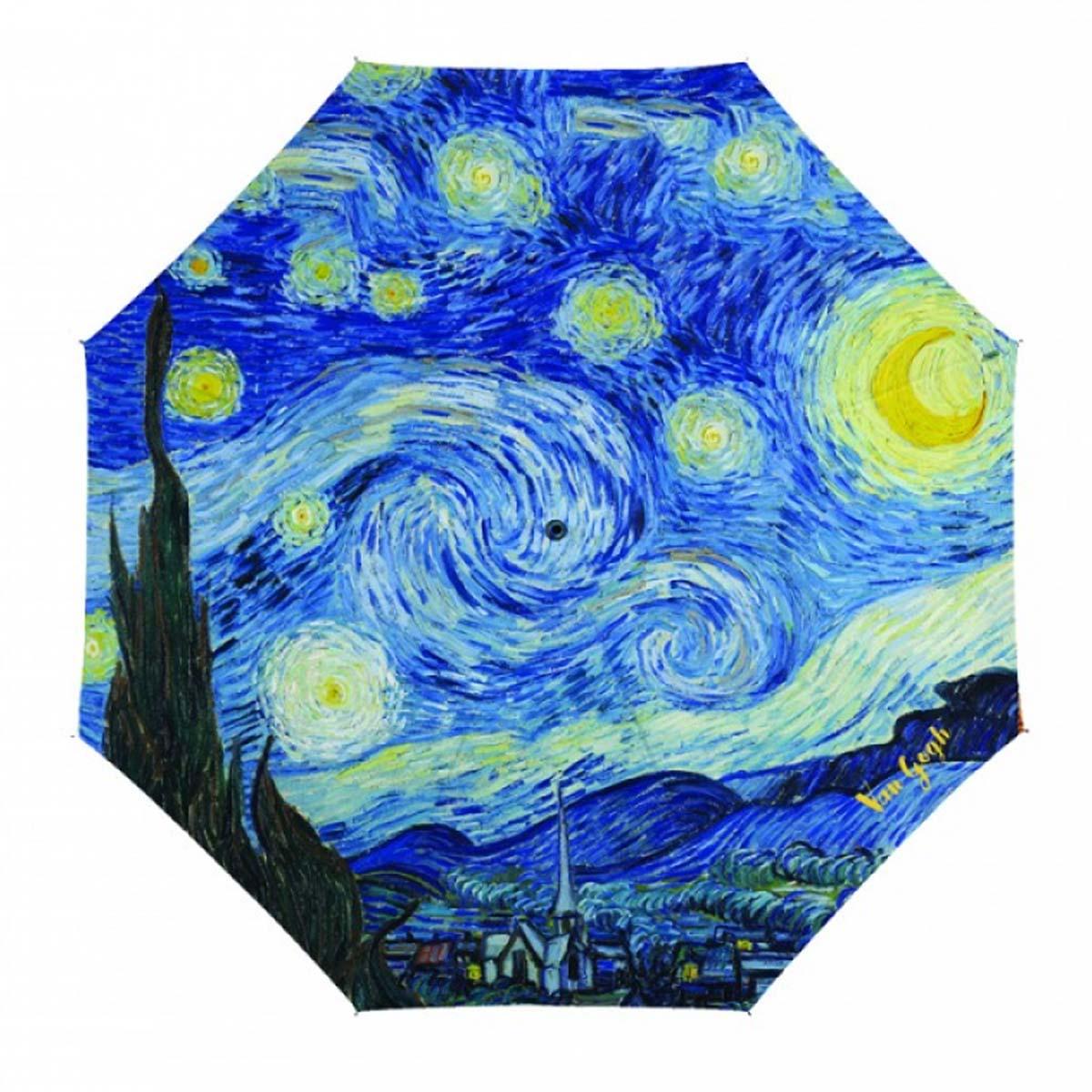Parapluie canne \'Vincent Van Gogh\' bleu (nuit étoilée) - 90 cm - [A0902]