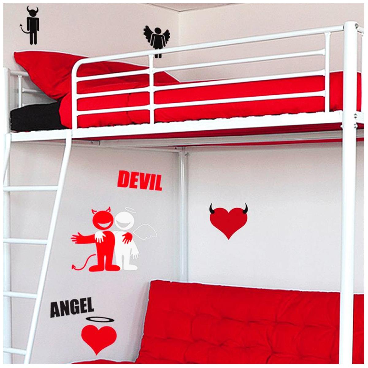 Planche de stickers \'Ange et Démon\' noir rouge (50x70 cm) - [L7714]