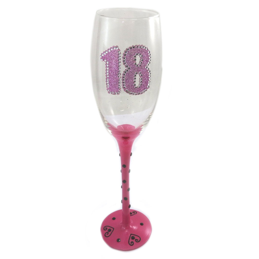Coupe flute à champagne \'18\' rose - 24 cm - [N7896]