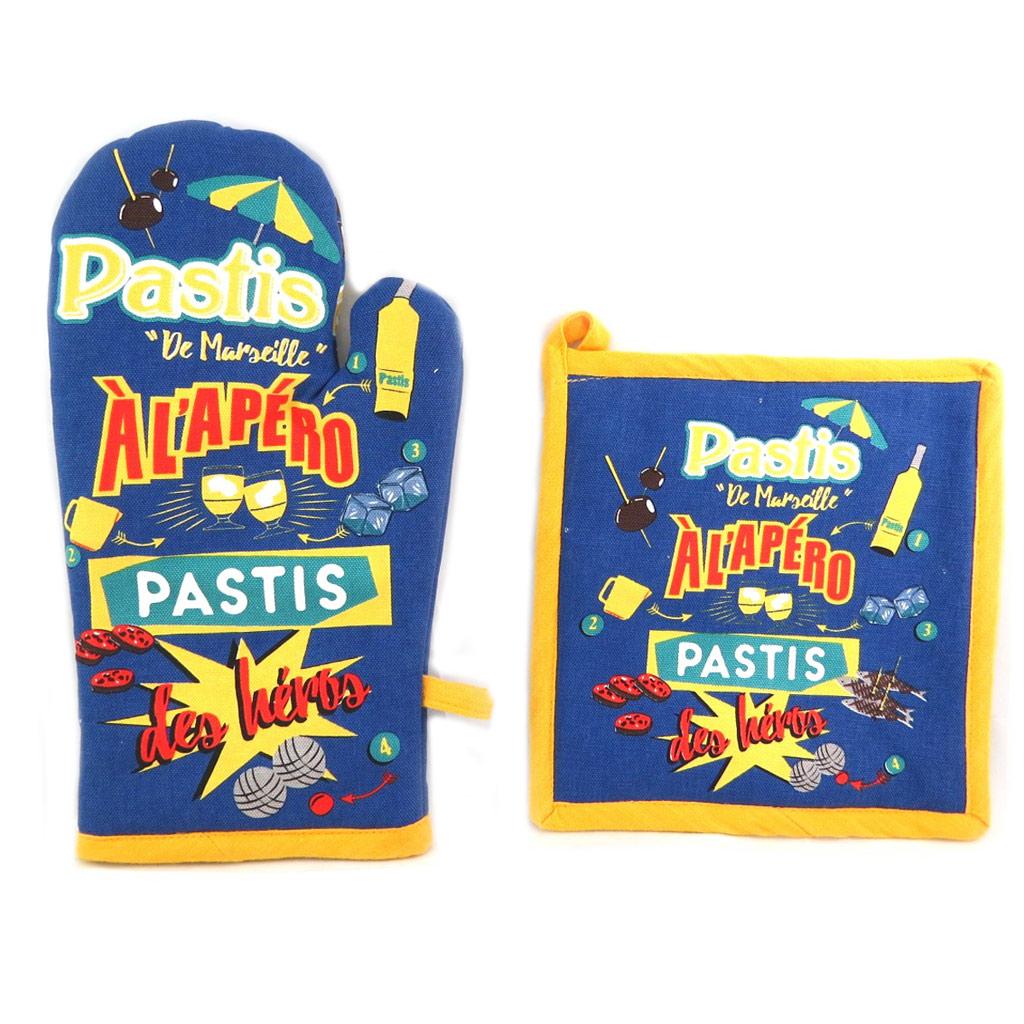 Set de gant + manique \'Pastis de Marseille\' bleu jaune - [N7963]