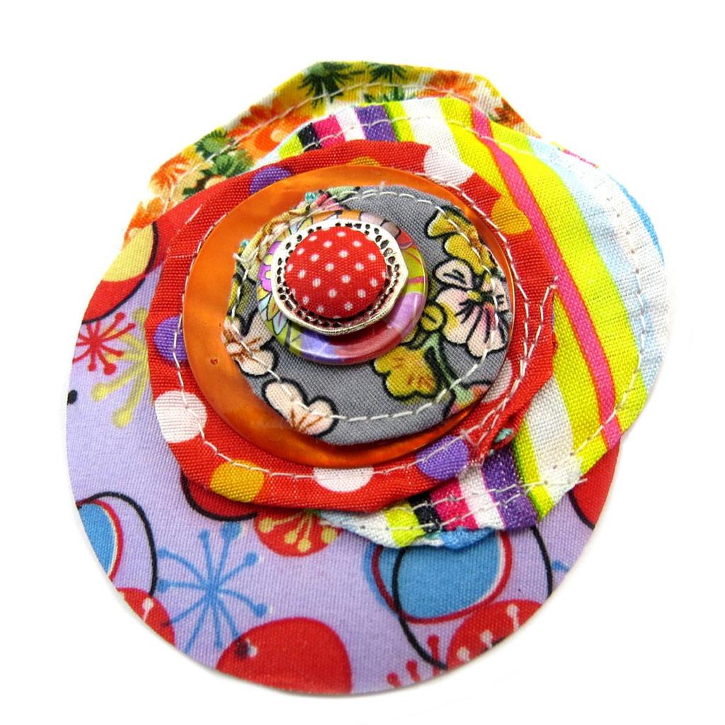 Broche Créateur \'Capucines\' multicolore - [P3686]