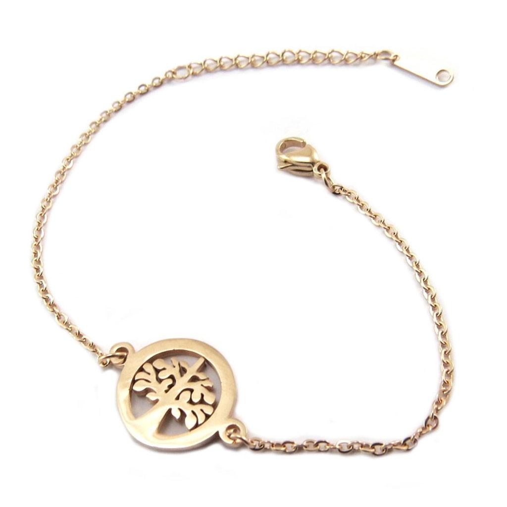 Bracelet acier \'Arbre de Vie\' doré rosé (gold pink) - 15 mm - [P4878]