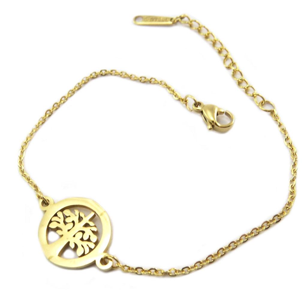 Bracelet acier \'Arbre de Vie\' doré - 15 mm - [P4879]