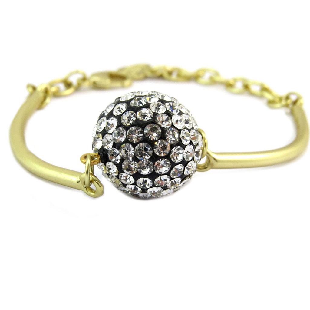 Bracelet Créateur \'Illuminations\' blanc noir doré - 18 mm - [P6353]