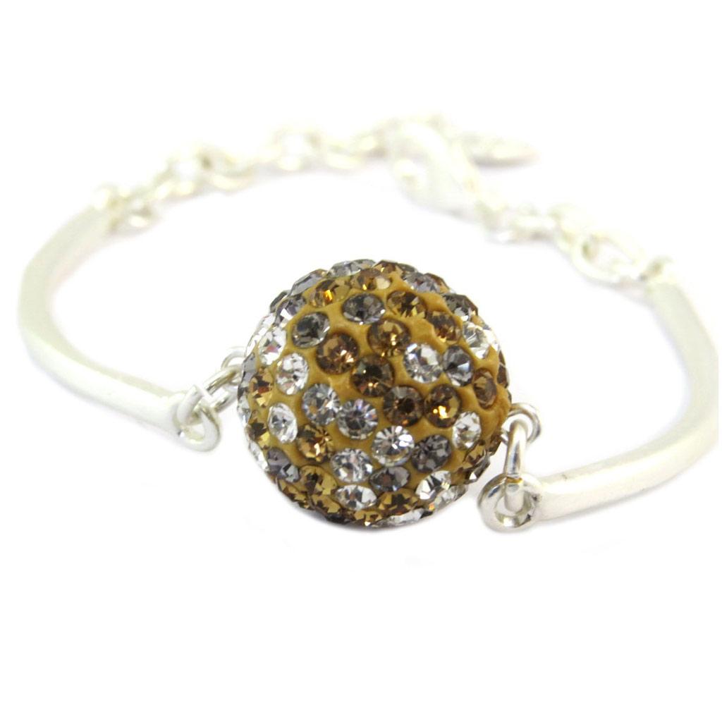 Bracelet Créateur \'Illuminations\' beige argenté - 18 mm - [P6354]