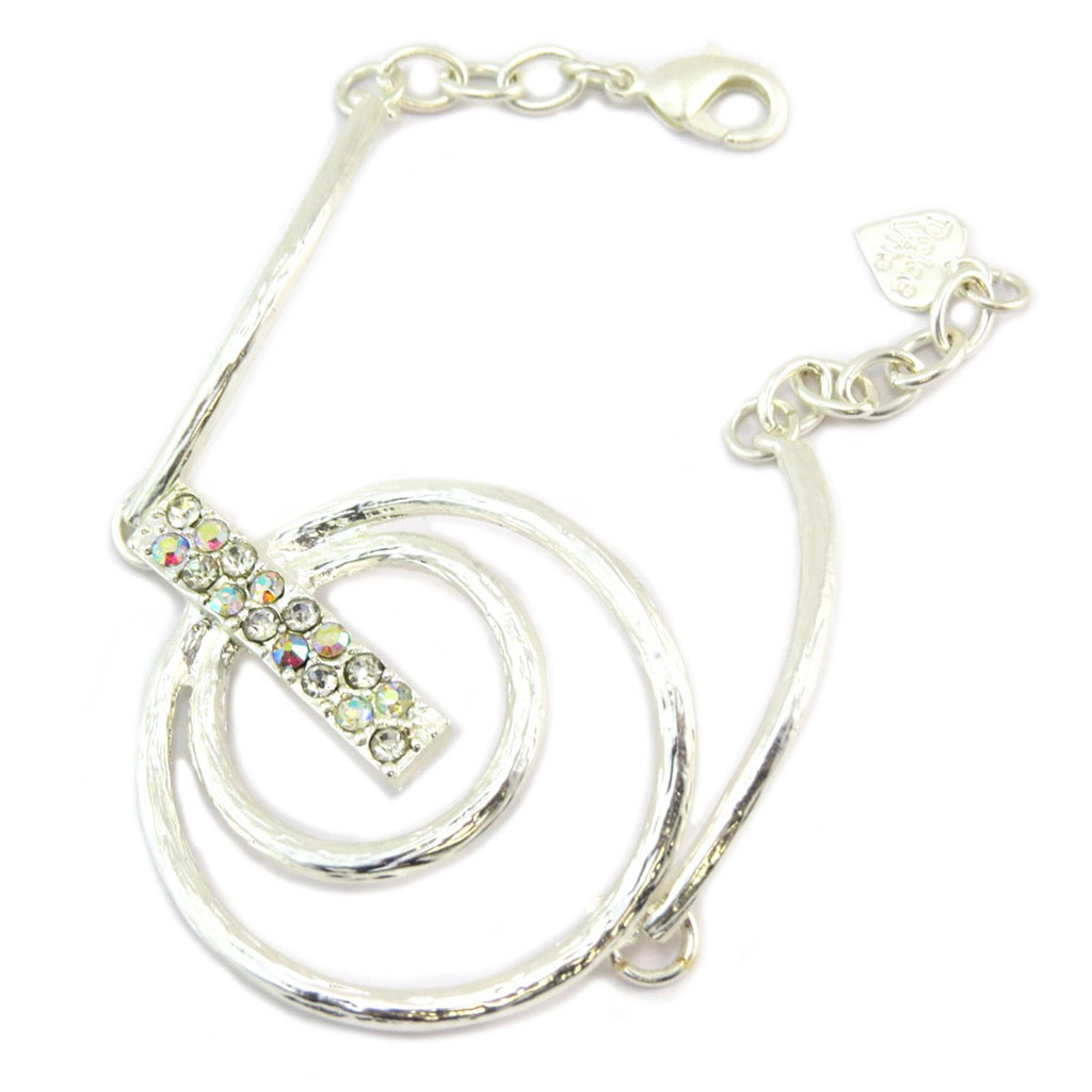 Bracelet Créateur \'Illuminations\' blanc boréal argenté - 40 mm - [P6375]