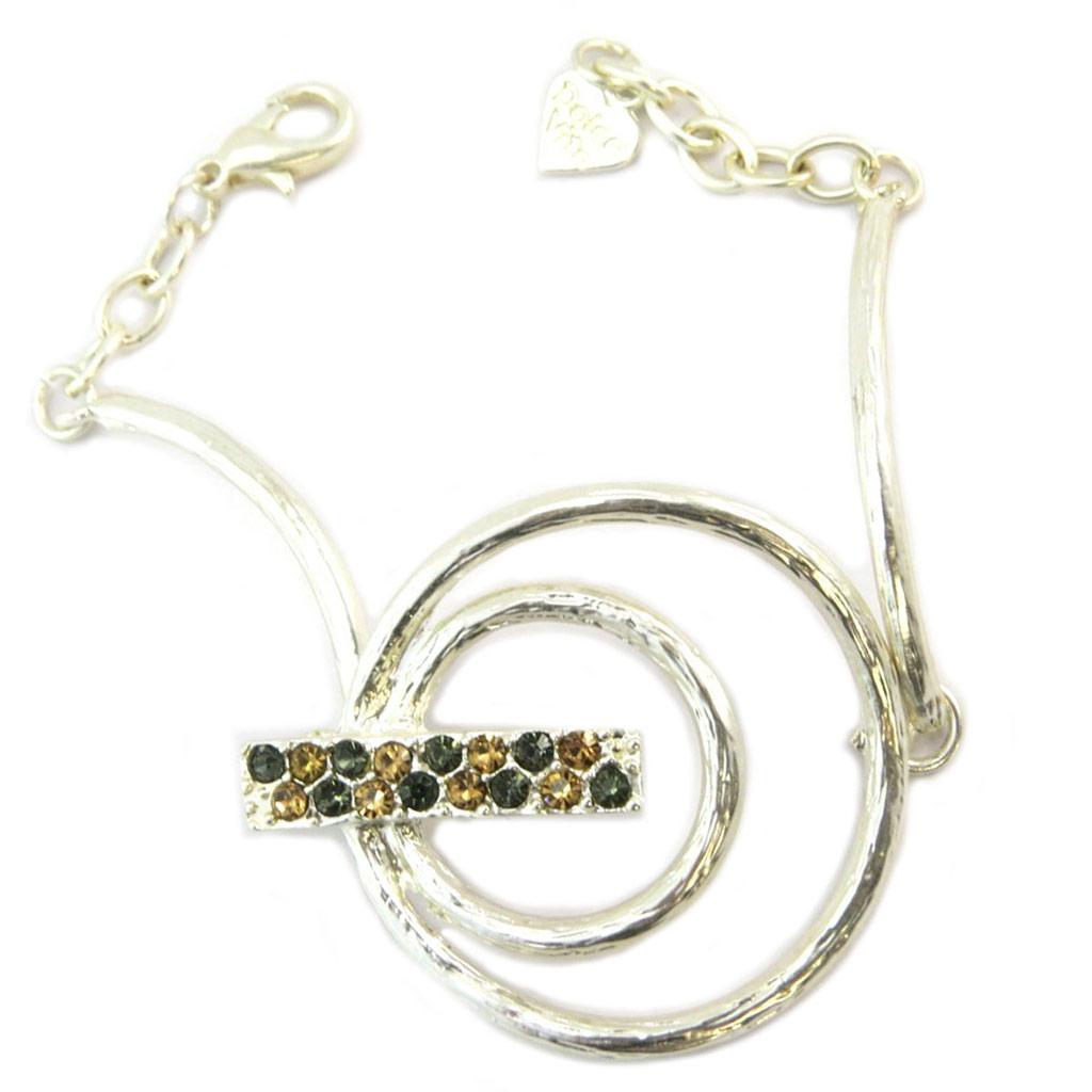 Bracelet Créateur \'Illuminations\' beige gris argenté - 40 mm - [P6376]