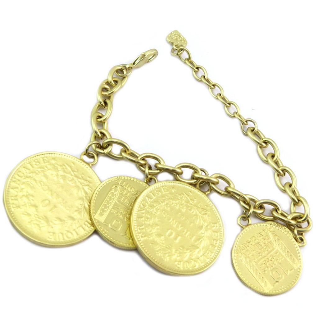 Bracelet Créateur \'Liberté Egalité Fraternité\' doré - pièces 18,27 et 35 mm - [P6377]