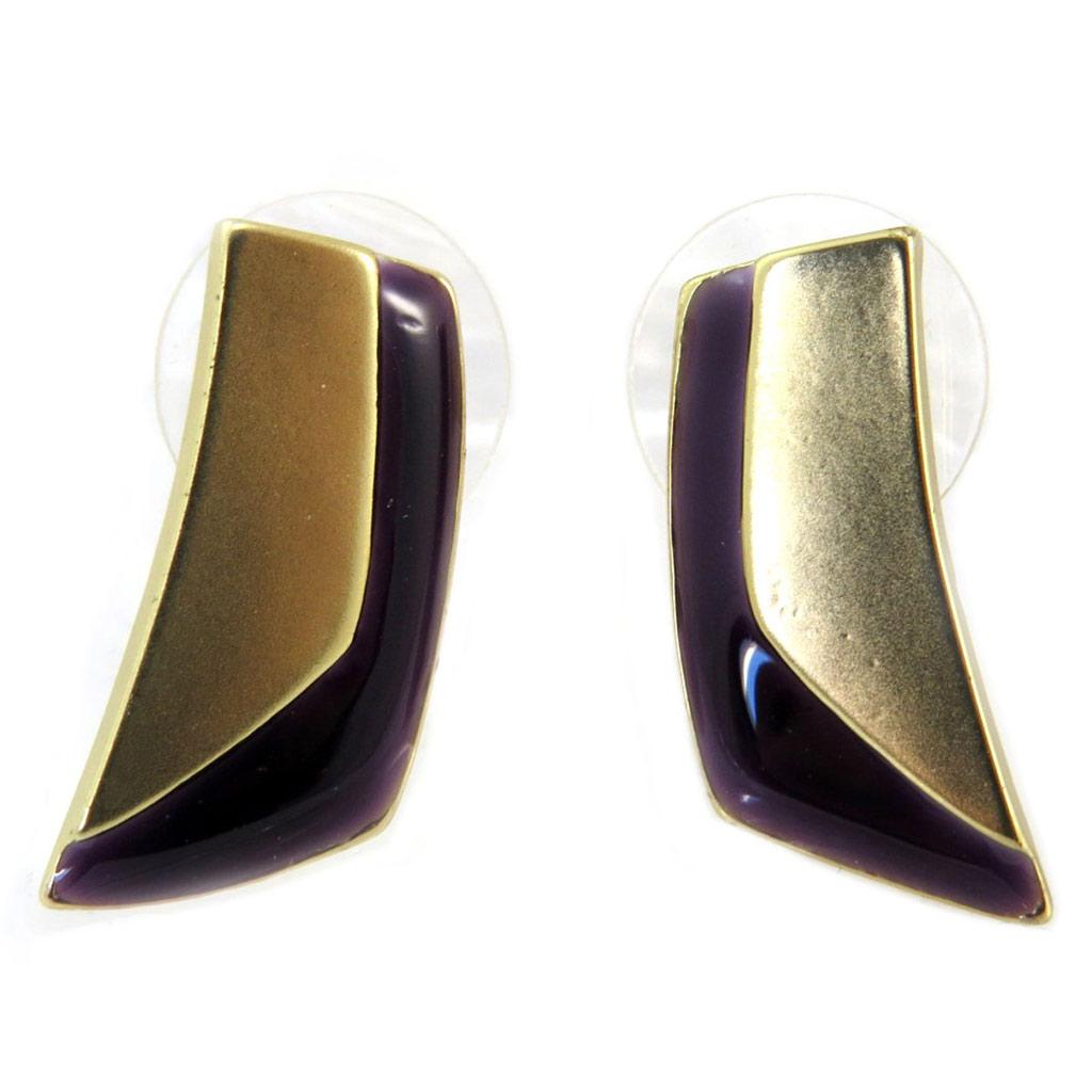 Boucles Créateur \'Nora\' violet doré - 20x9 mm - [P6390]