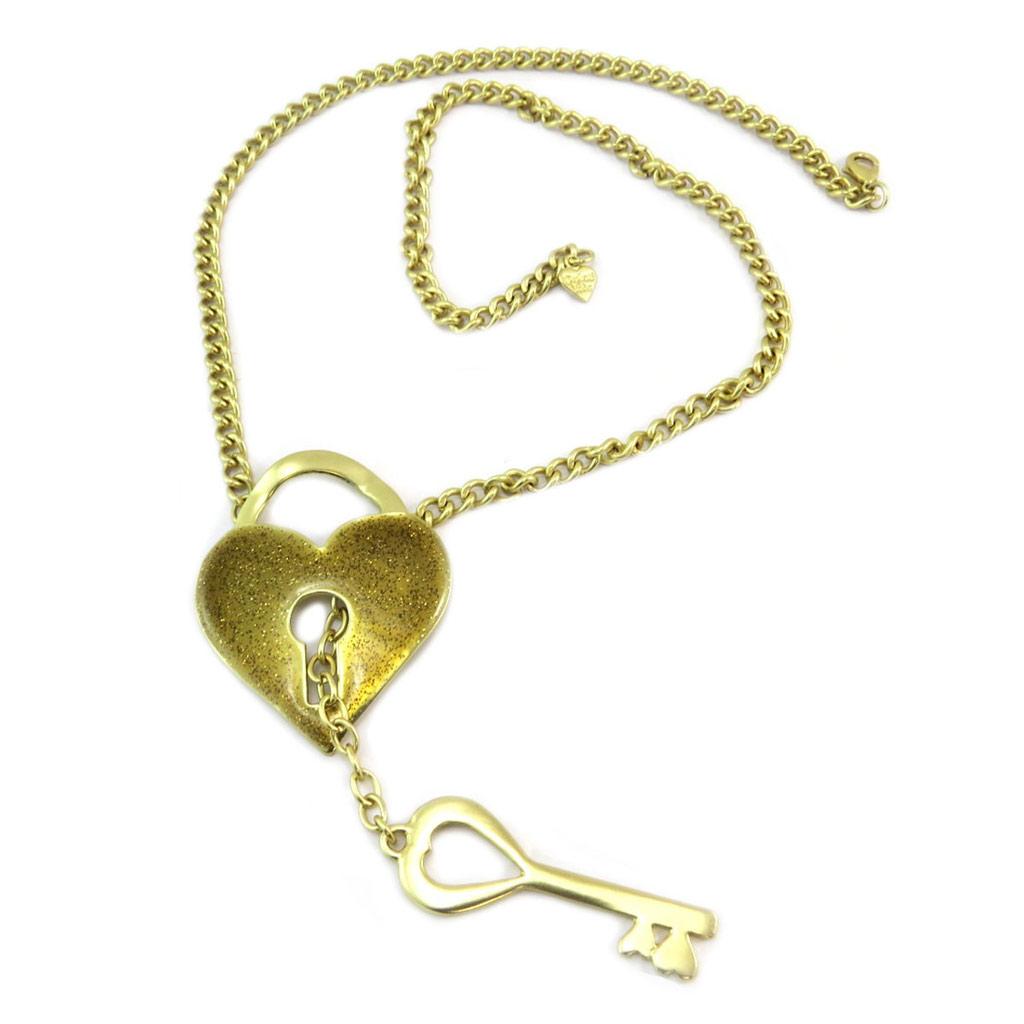 Sautoir Créateur \'Love\' doré - 66 cm, 15x5 cm - [P6443]