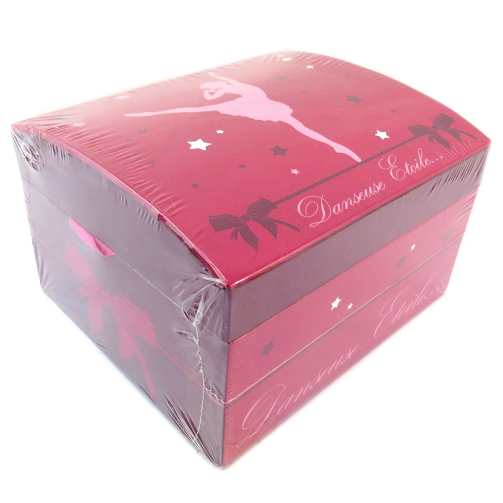 Coffret à Bijoux \'Ballerines\' rose (danseuse étoile) - 15x13x95 cm - [P6473]