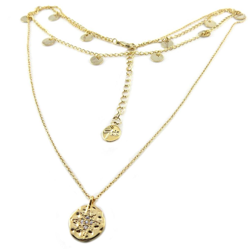 Collier artisanal ras de cou \'Boho\' blanc doré (2 rangs) - 10 mm (étoile) - [P8372]