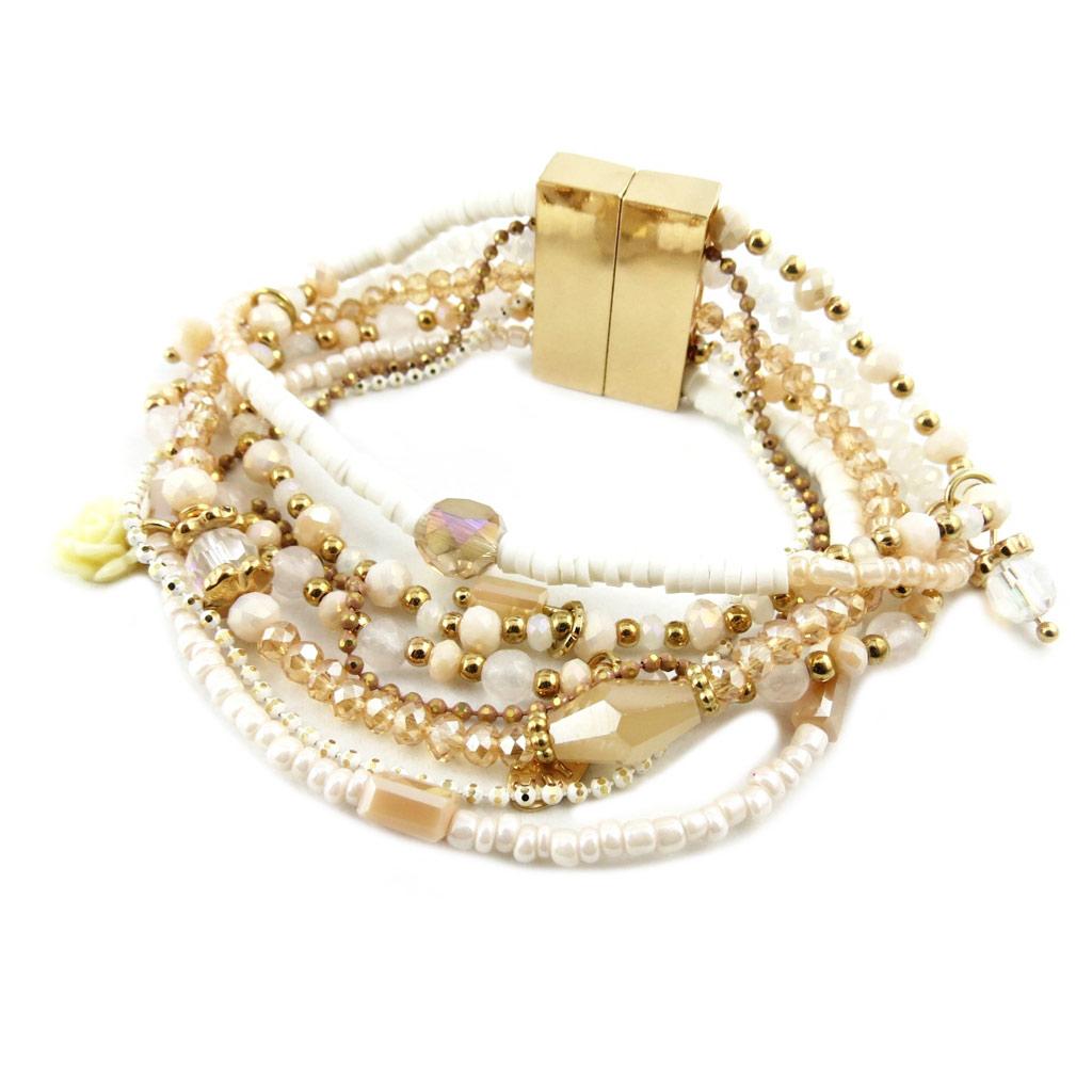 Bracelet créateur \'Acapulco\' blanc beige doré - 2 cm - [P8374]