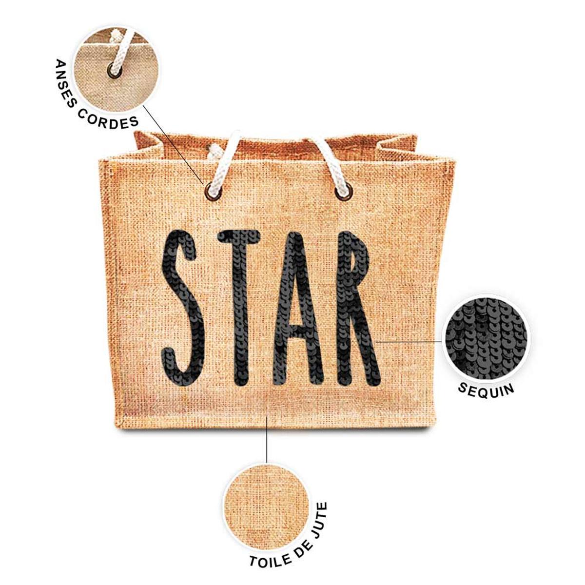 Sac shopping \'Star\' beige noir (jute) - 42x345x185 cm - [P8785]
