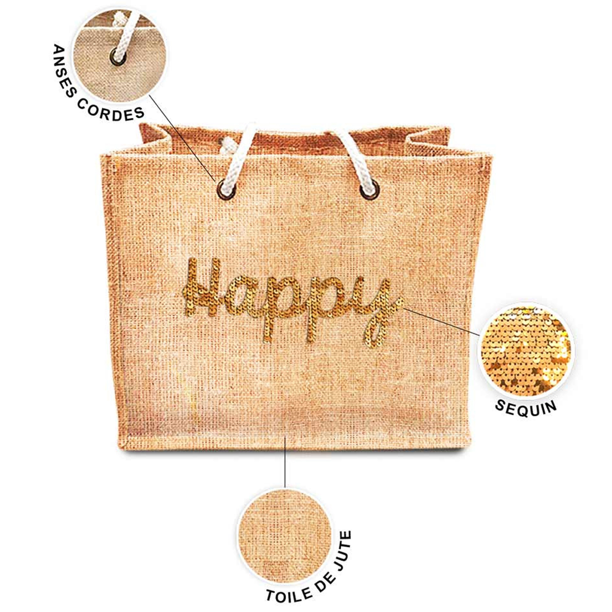 Sac shopping \'Happy\' beige doré (jute) - 42x345x185 cm - [P8786]